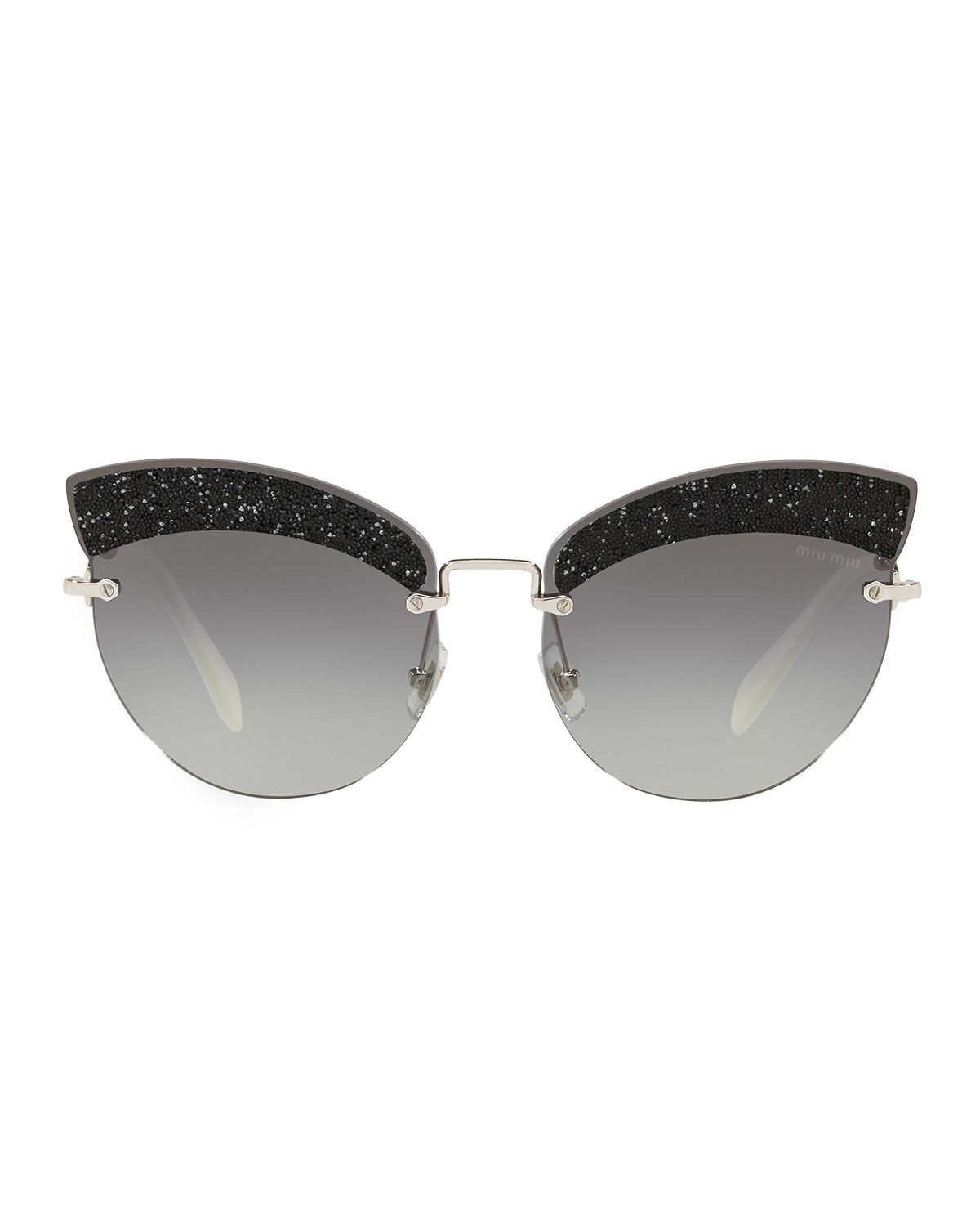 248cca41480 Miu Miu Semi-Rimless Glittered Cat-Eye Sunglasses