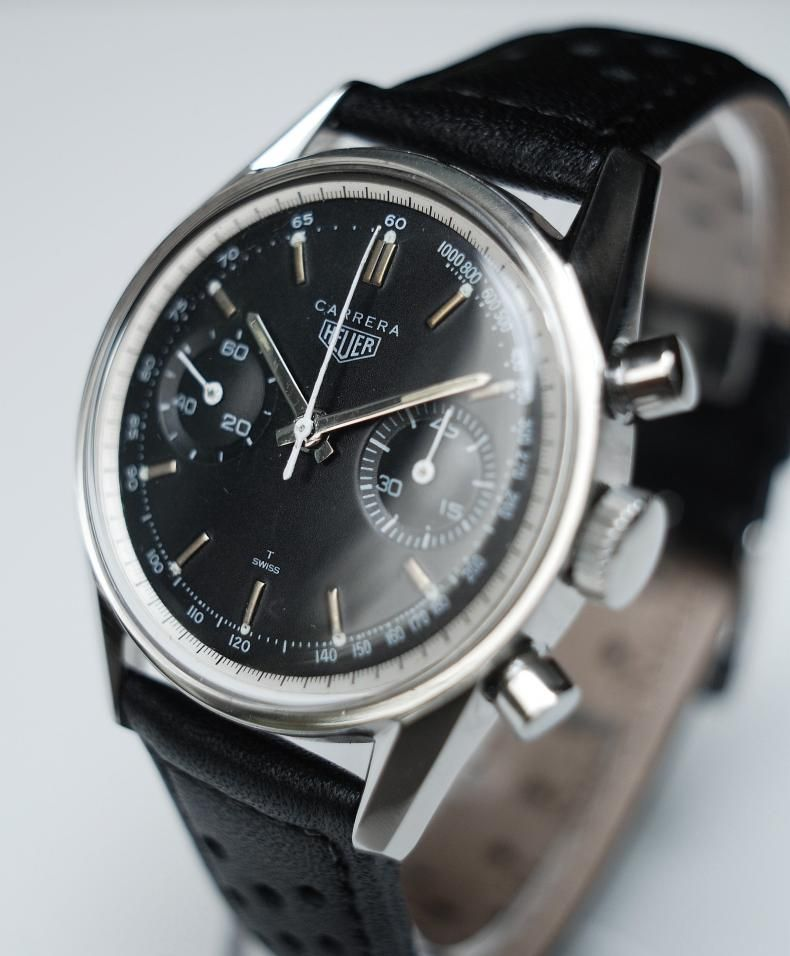 Heuer Carrera 45 Ref 3647nt Black Dial Vintage Chronograph Valjoux 92 Vintage Watches Best Watches For Men Skeleton Watches