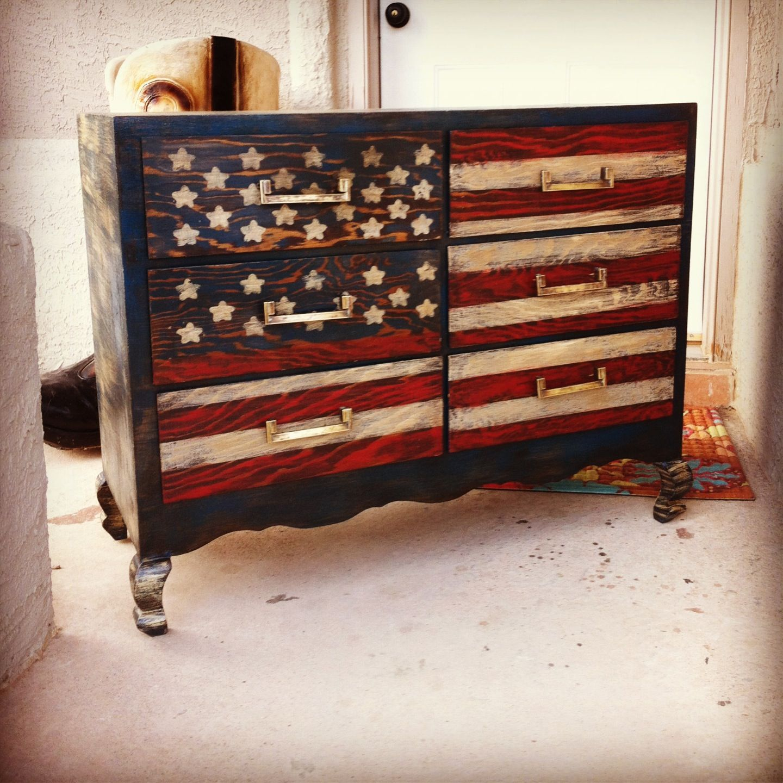 American Flag Patriotic Dresser