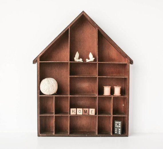 Vintage House Shaped Shadow Box Curio Display Rustic Wood Shadow Box Vintage House Diy Shadow Box