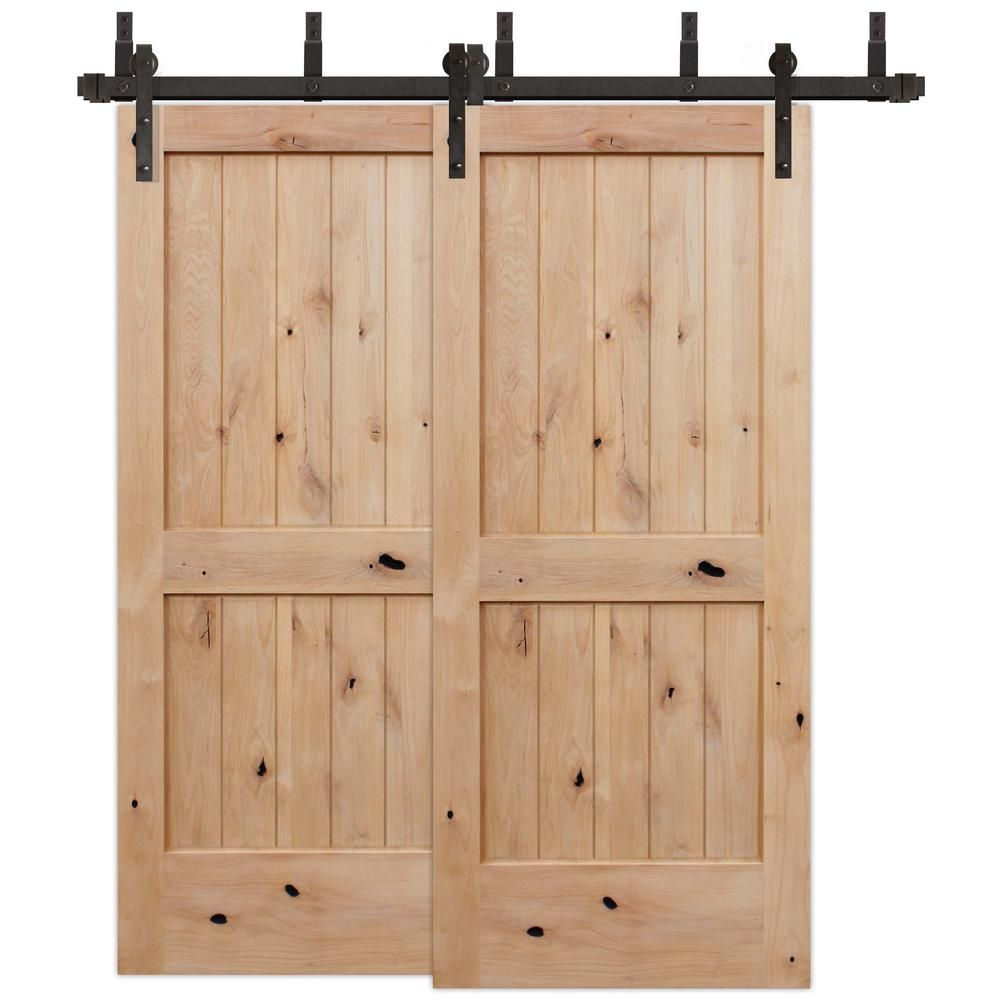 Pacific Entries 72 In X 80 In Bypass Rustic Unf 2 Panel V Groove Solid Core Knotty Alder Sliding Barn Door W Bronze Hardware Kit Byua2242 72 10b In 2020 Sliding Barn Door Hardware Interior Barn