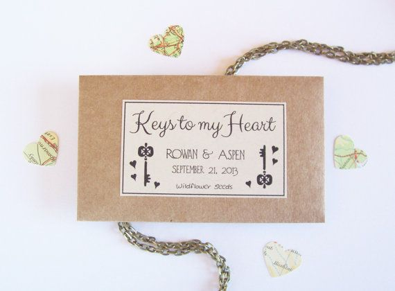 100 Bohemian Wedding Favors - Seeds Favors - KEYS to MY HEART ...