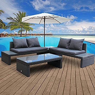 Cloud Mountain 4 PC Outdoor Wicker Rattan Set Patio Garden Loveseat Daybed Cushioned Conversation Furniture Set Rattan Loveseat Sofa, Glass Table & Side Table, Steel Blue (affiliate)