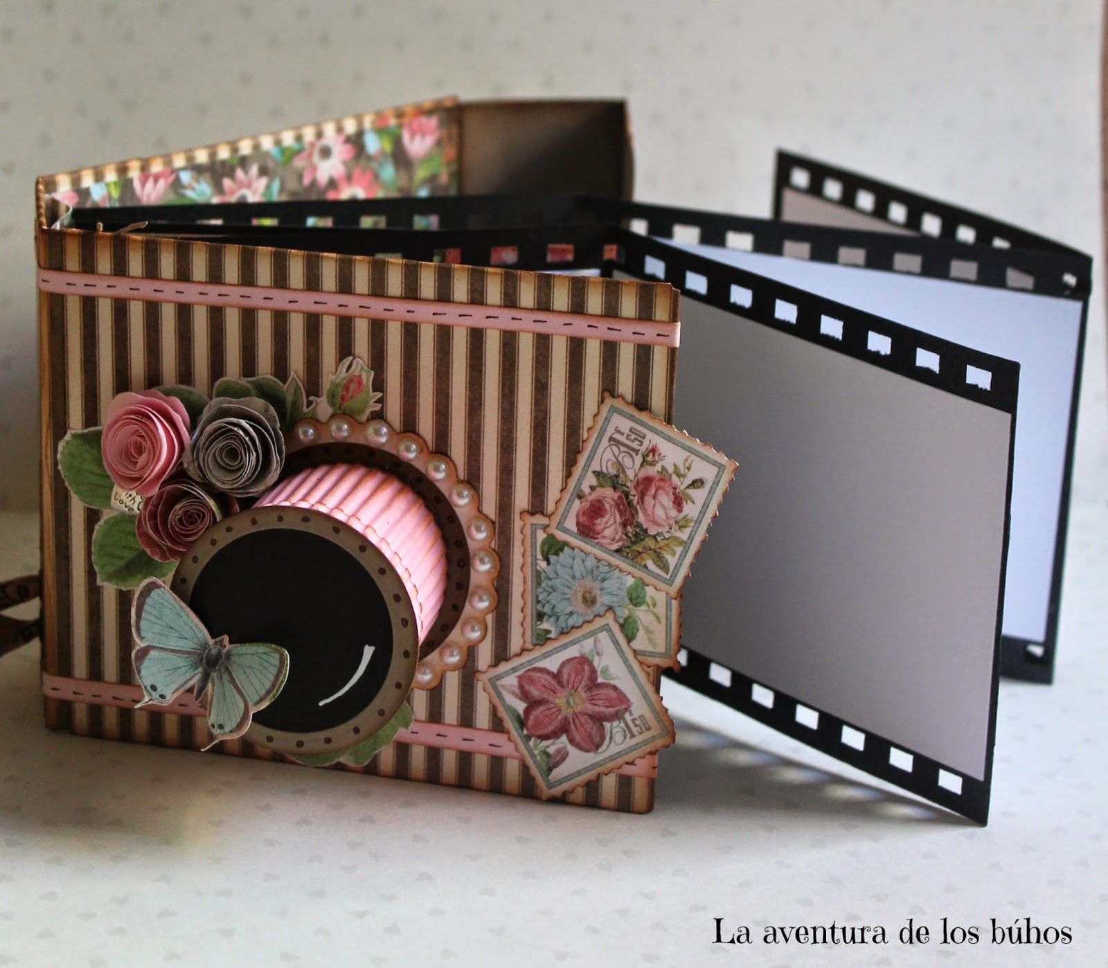 La aventura de los buhos photo camera mini album - Como hacer un album scrapbook ...