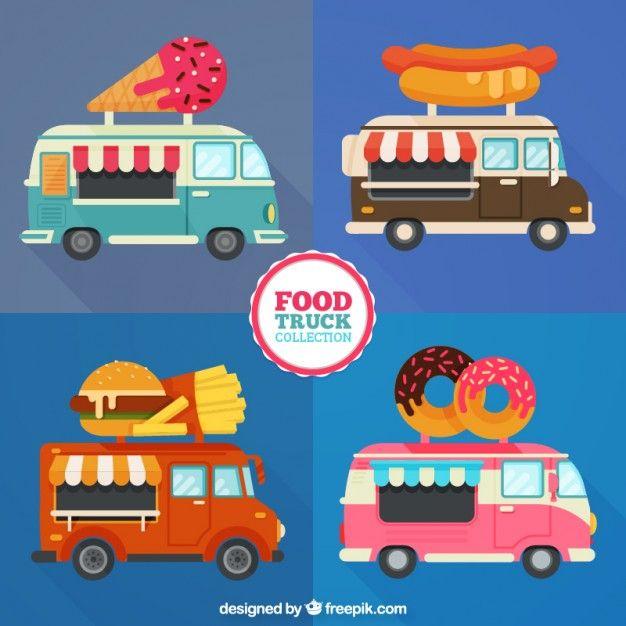 Different Food Trucks In Flat Design Free Vector Food