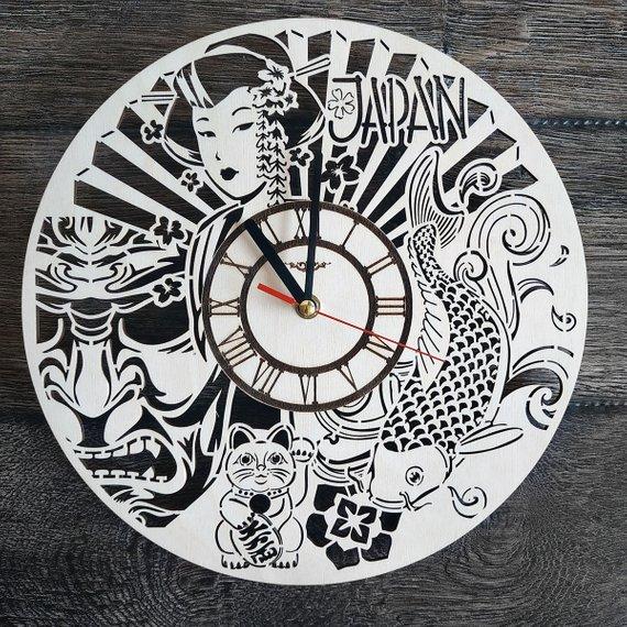 Japan Sign Wall Art Clock Themed Home Kitchen Living Room Decor
