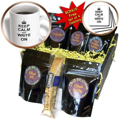 cgb_157787_1 InspirationzStore Typography - Keep Calm and Write on - carry on writing - Author pHD thesis Writer gifts fun funny humor humorous - Coffee Gift Baskets - Coffee Gift Basket