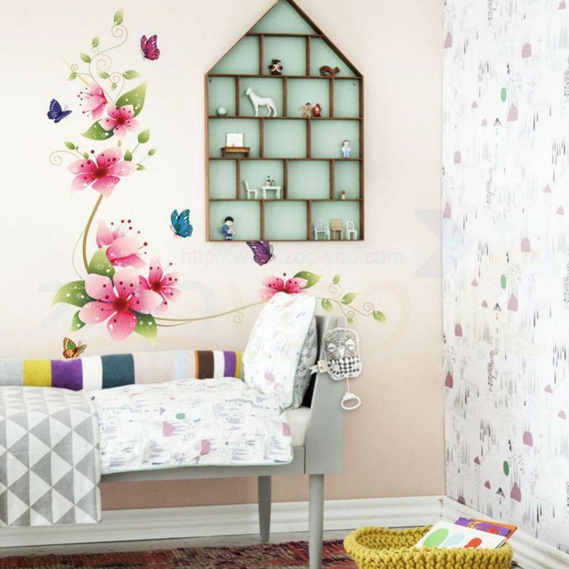 5 ontwerpen kleine sakura bloem muurstickers slaapkamer kamer pvc ...