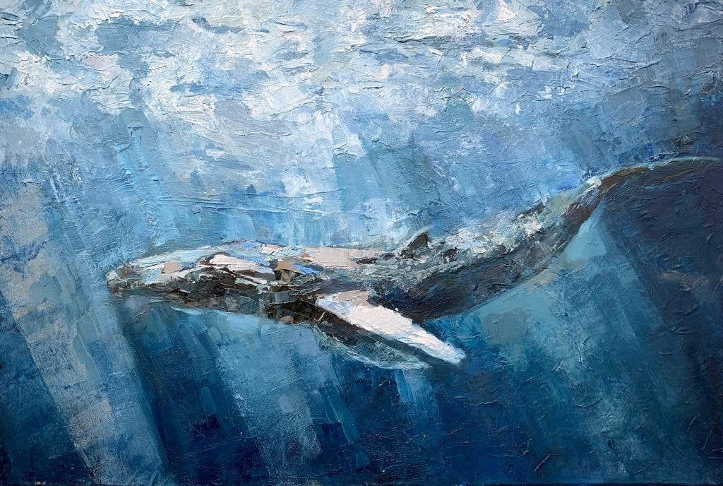 Colleague Gift Big Blue Whale Oiil Painting Deep Ocean Picture