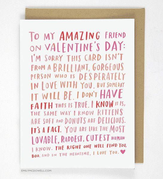Amazing Single Friend Valentine Card Friend Valentine Card Friends Valentines Funny Friend Valentines