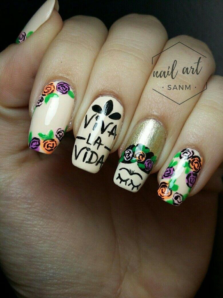 NAIL ART FRIDA KAHLO BY: NAIL ART SANM #flores #Frida #nailart ...