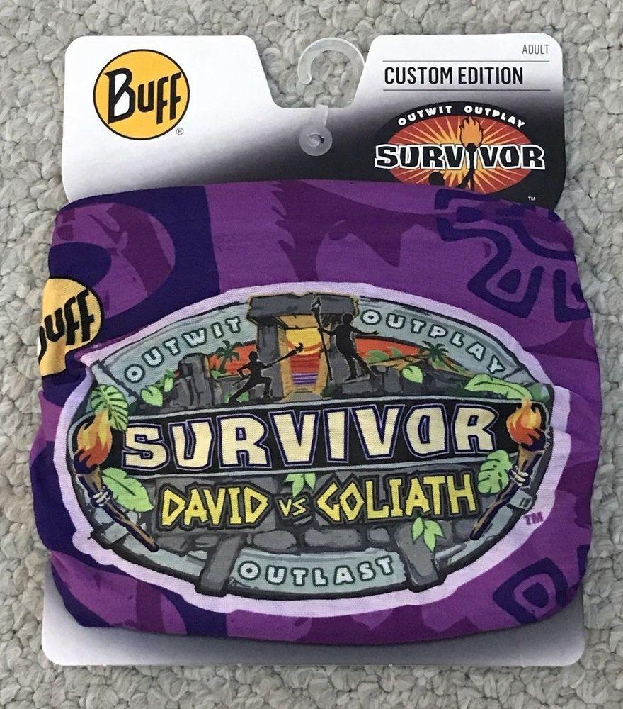 New On Display Survivor David Vs Goliath Purple Tribe Buff Season 37 S37 Cbs Tv Survivor Tv David Vs Goliath Survivor Buffs