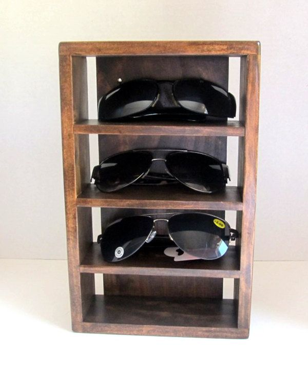 56776e34f This a wall mounted sunglass rack to organize and keep your sunglass in one  convenient location. The sunglass rack is made from wood and can be  finished in ...