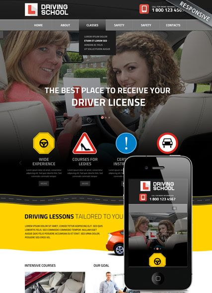 driving school bootstrap template id 300111822 bootstrap web