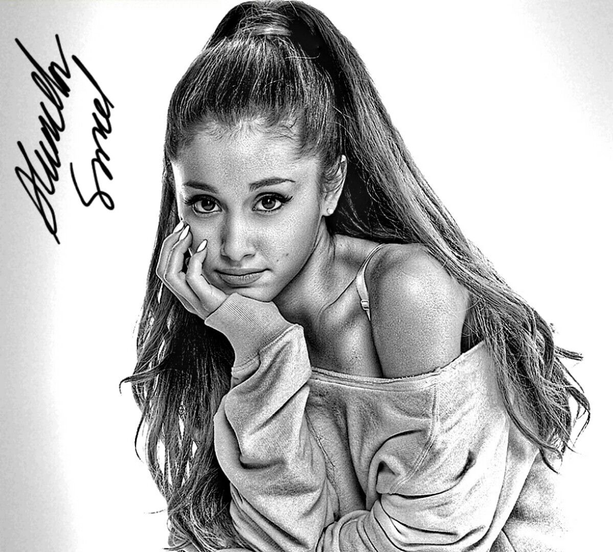 A hyperrealistic drawing of ariana grande ariana grande