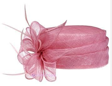 Pale Pink Fascinator  Sinamay Hat For Weddings Feather Flower Detailed Hair Accessories Hats Wedding Guest Hatinator