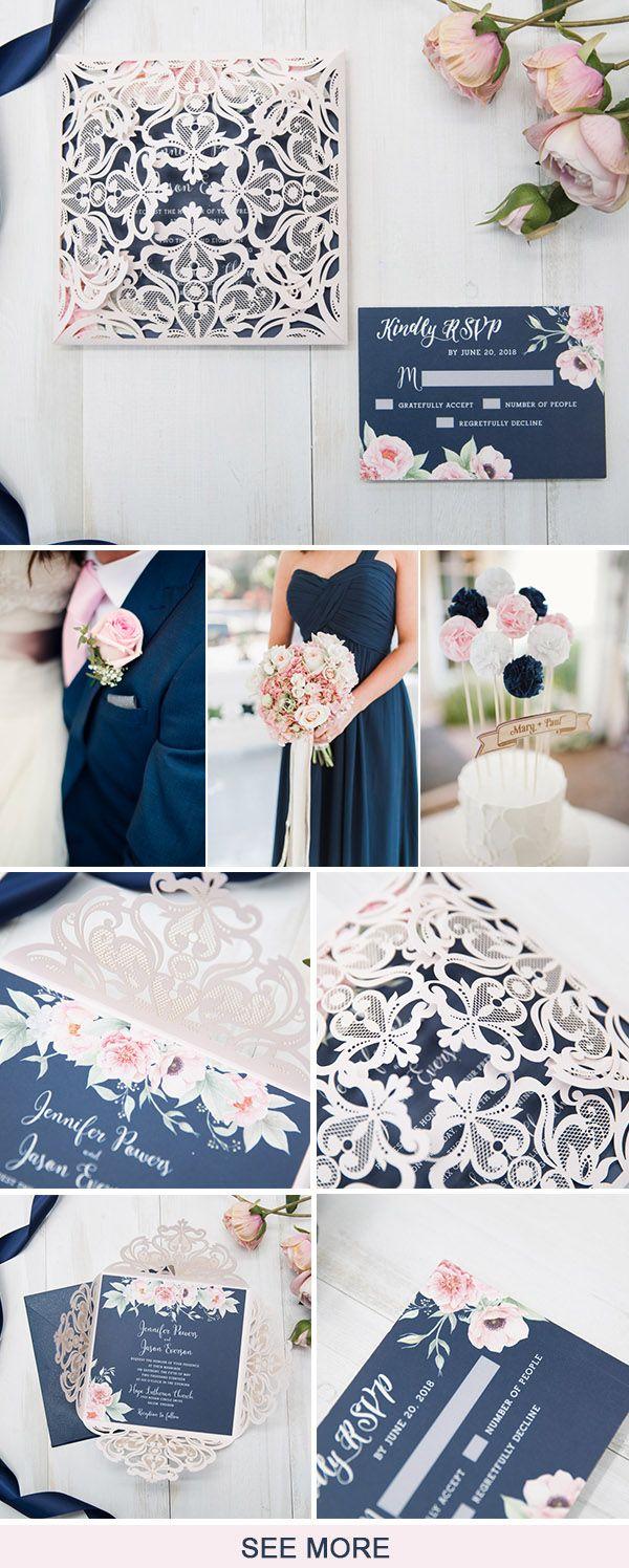 The Latest Navy Blue Wedding Invitations from Elegant Wedding ...