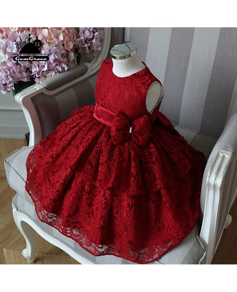 High-end Burgundy Lace Princess Flower Girl Dress Girls ...
