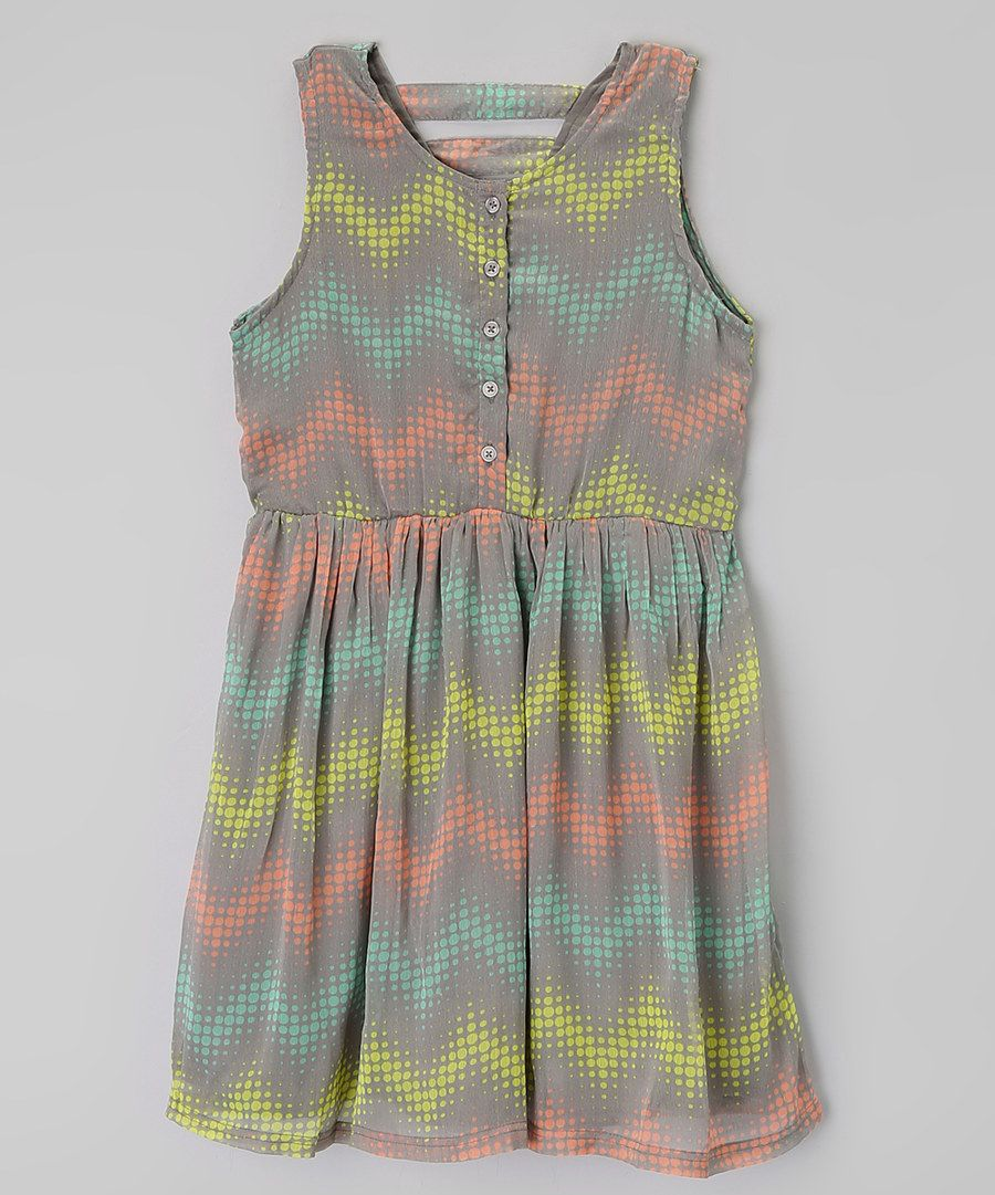 Look at this Dollhouse Gray & Lime Chevron Dress - Toddler & Girls on #zulily today!