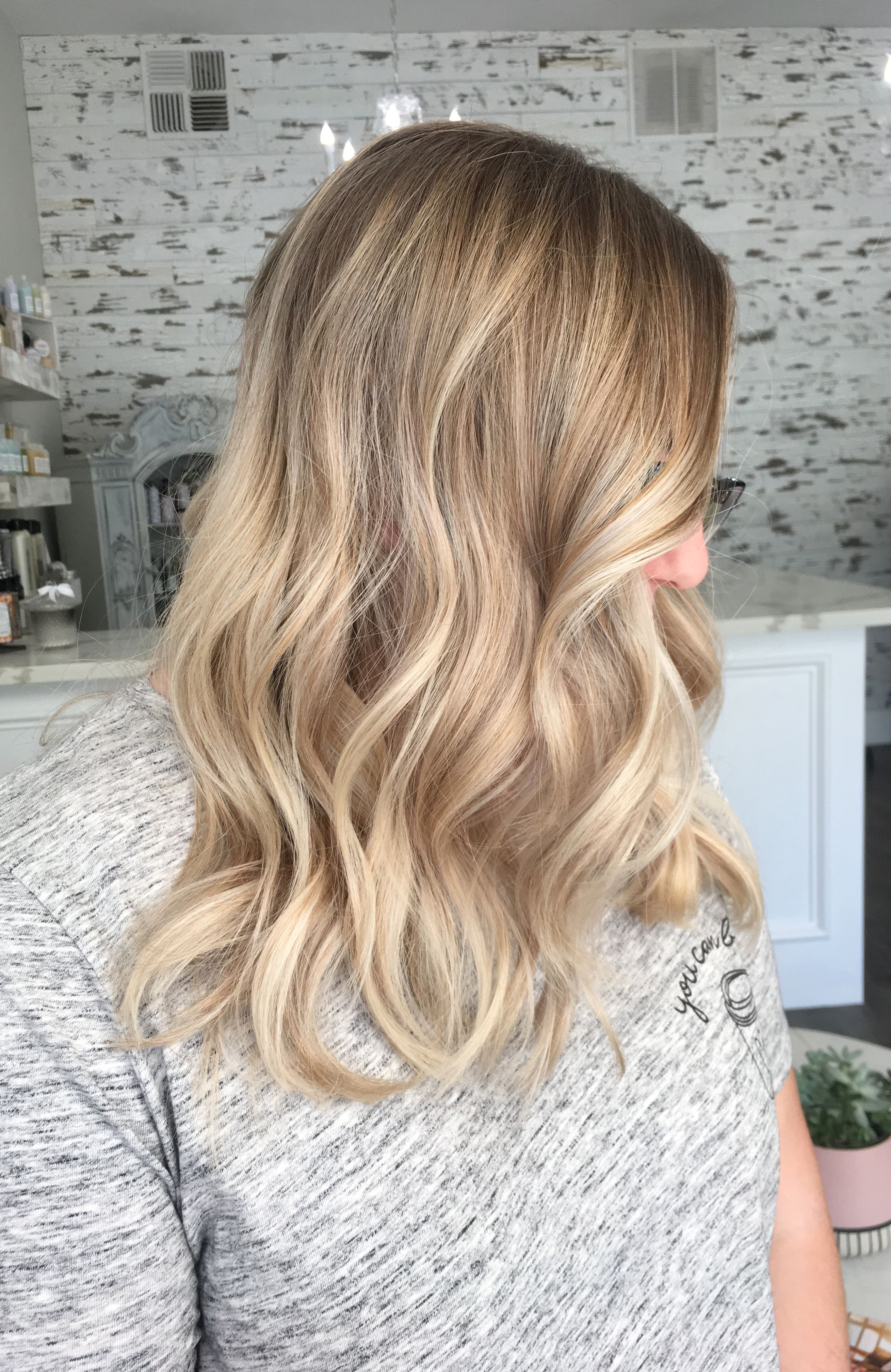 blonde balayage hair by kayla common roseville,ca | be