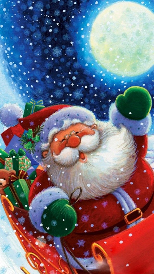 Cute Santa Claus Christmas Illustration Phone Wallpaper Phone