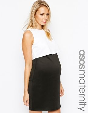 841eb735f6e71 Maternity Bodycon Dress with Double Layer in Mono | All Things Baby ...