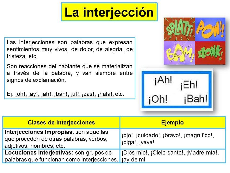 La Interjección Lecciones De Gramática Apuntes De Lengua Practicas Del Lenguaje