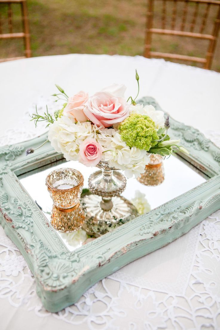 mint and pink vintage wedding centerpieces | Table centrepieces ...