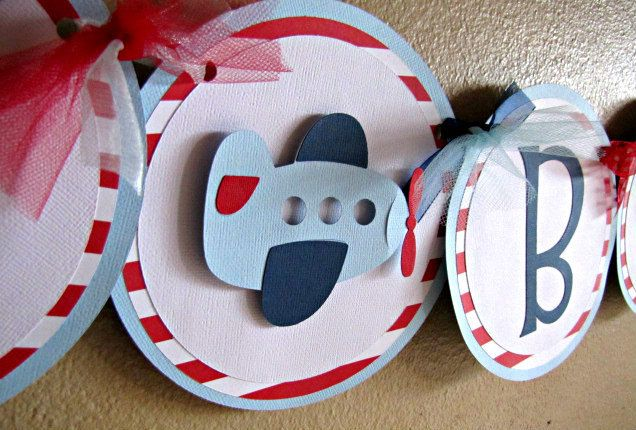 Photo of Airplane Party Banner, Time Flies Birthday Decoration, Plane Baby Boy Shower Banner