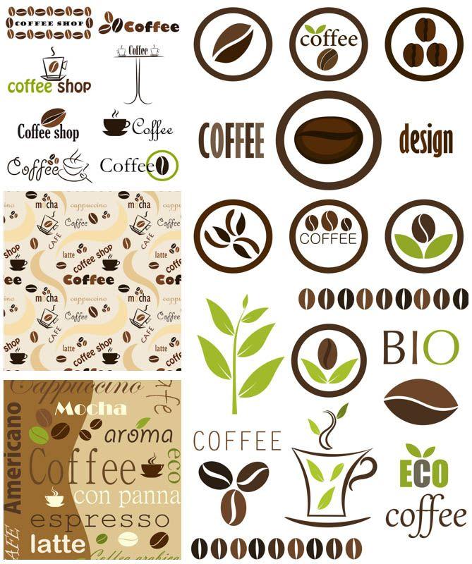 Coffee logotype templates vector Đồ họa, Cà phê, Trang trí