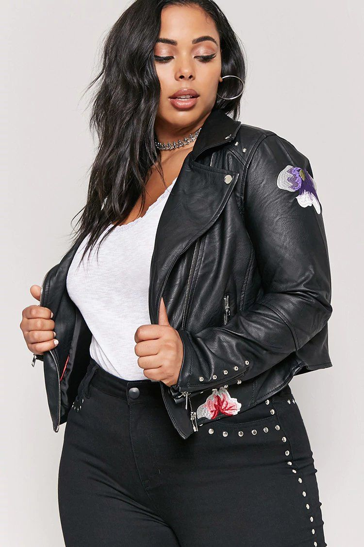 e5da0d2a04 Product Name:Plus Size Studded Faux Leather Jacket,  Category:plus_size-main, Price:47.9