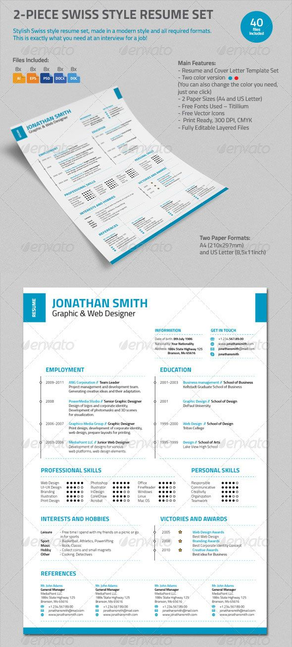 Personalize A Modern Resume Template In Ms Word  Curriculum Vitae
