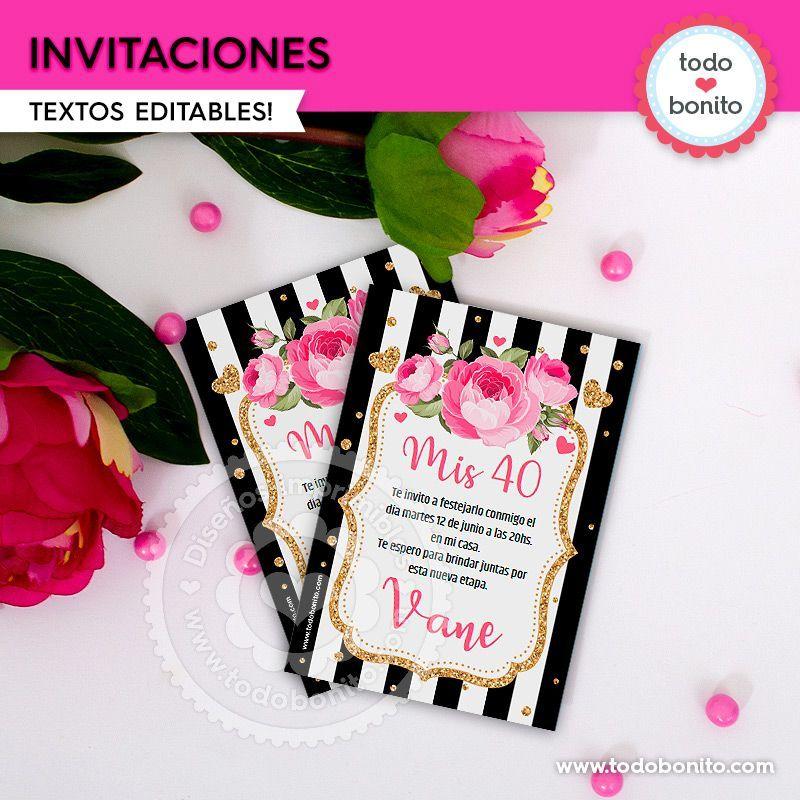Invitaciones Para Imprimir Flores Y Rayas Por Todo Bonito
