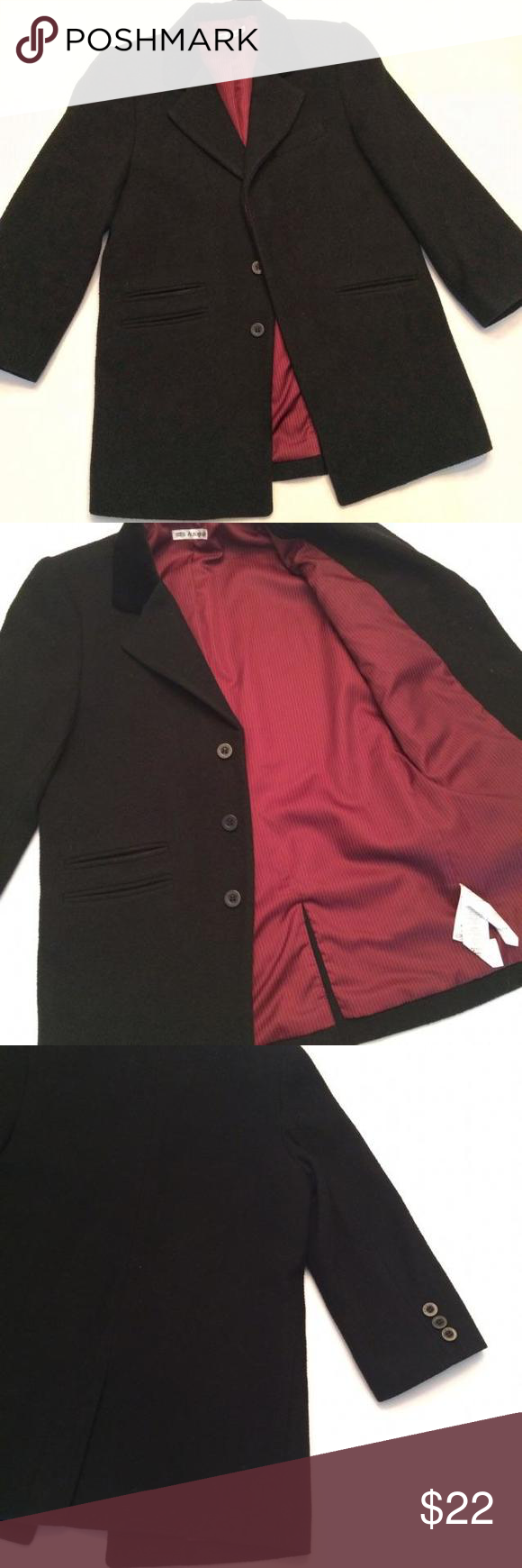Marks & Spencer Black Wool Jacket Gorgeous single breasted wool coat with 3 hidden button closures. Fully lined in burgundy polyester with black velvet collar for just an extra touch of style. 3 pocket front. Dry Clean Only. Full dress jacket but cute enough to wear with jeans and kicks.size 5/6 Shirts & Tops