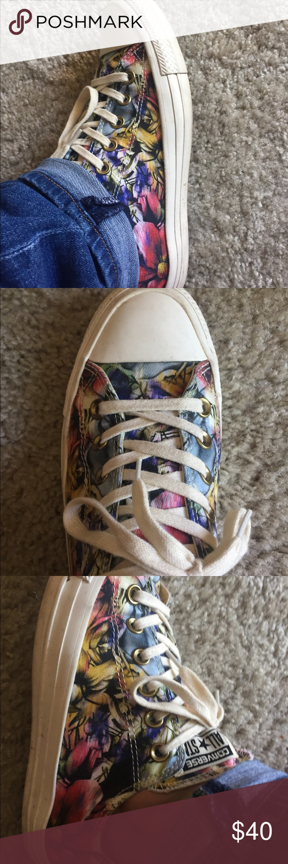 4f7108ef6388 Converse size 8 floral pattern Converse floral design in great condition. I  wore them once