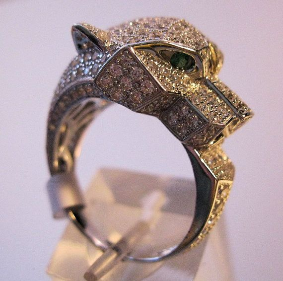 Panther Ring Sterling Silver 14k CZ Size 8 by BrightEyesTreasures $175.00