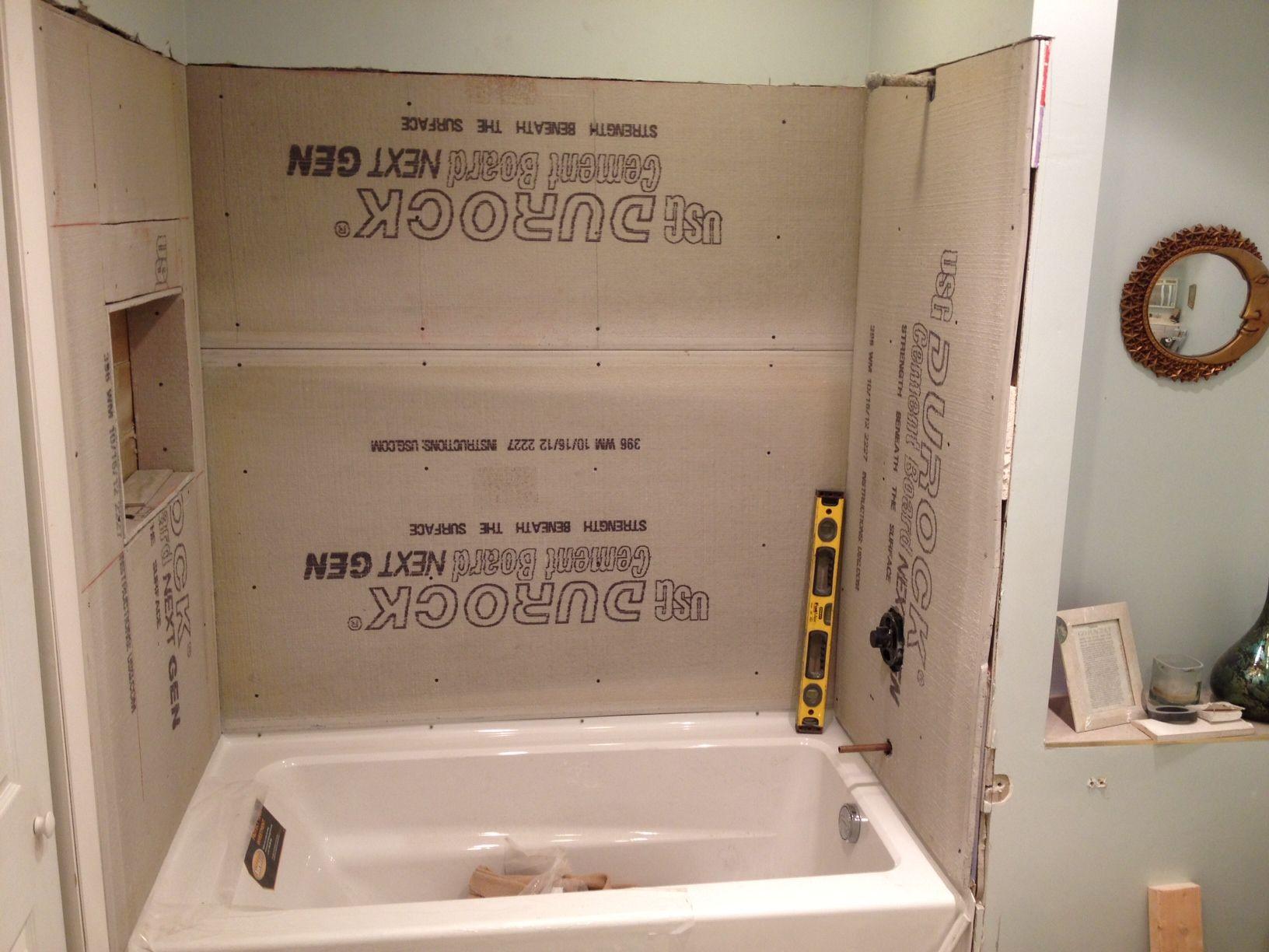 tile installation bath tub