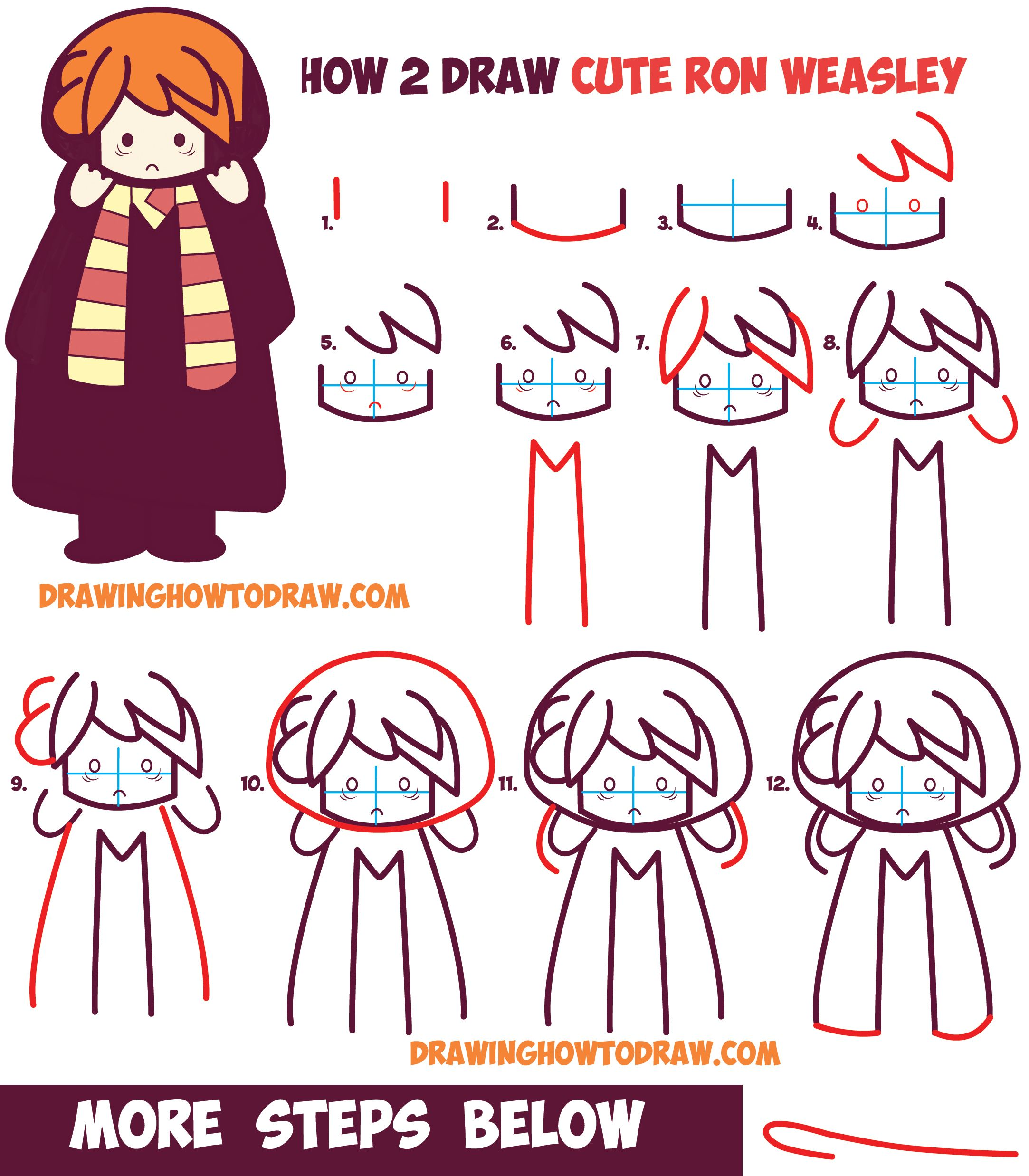 How to draw cute ron weasley from harry potter chibi kawaii easy step by step drawing tutorial - Harry potter dessin ...