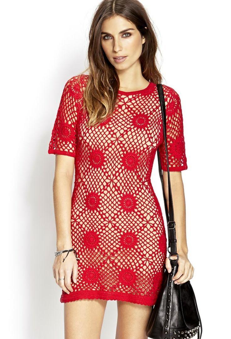 Chorrilho de ideias: Vestido vermelho em crochet