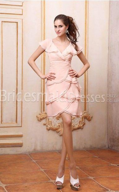44d55d64e0190 Pink Satin Chiffon Sheath/Column V-neck Short/Mini With Beading ...