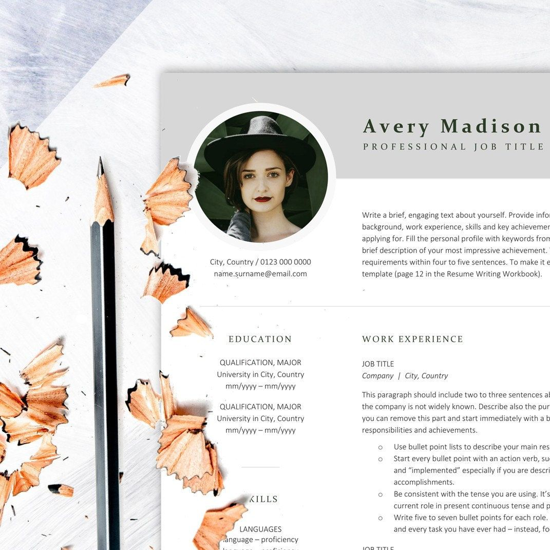 modern resume template with photo    instant download resume    cv template with picture for