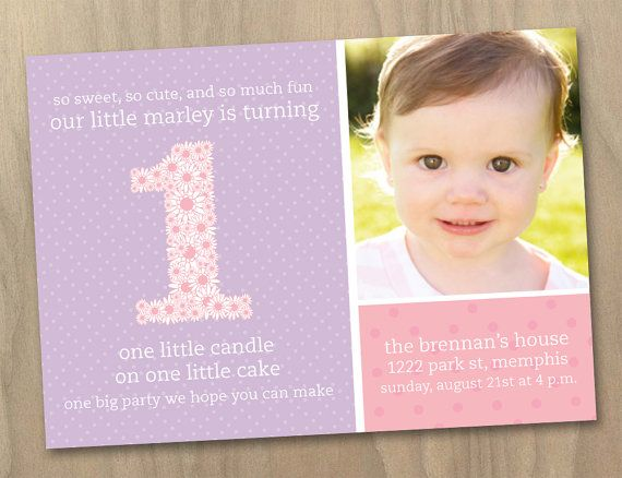 Baby Girl First 1st Birthday Photo Invitation Pink and Purple
