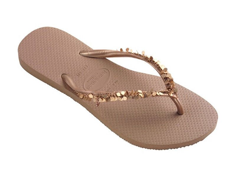 3fea9f0452e Havaianas Women`s Flip Flops Slim Metalisse Rose Gold Special Collection NWT