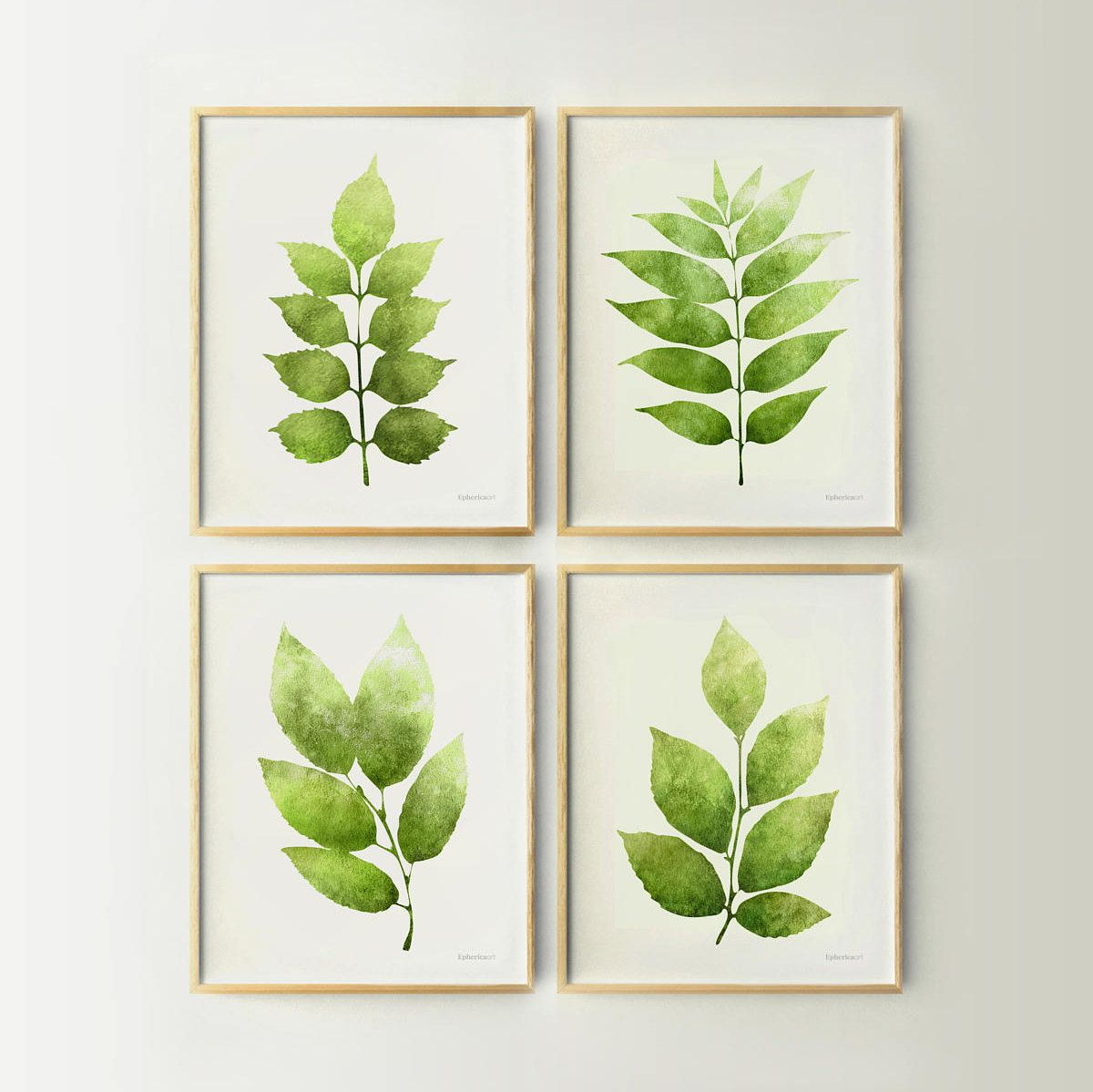 4 Piece Wall Art Green Leaves Prints Set Of 4 Prints Kitchen Printable Wall Art Plants Prints Galler Botanical Prints Printable Art Prints Gallery Wall Prints