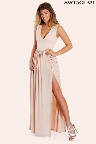 8f05eeda104 Shop Online Designwer Imported Western Hollywood Style Dresses. Look  seriously chic in this luscious nude slinky maxi dress featuring a plunge  neckline and ...
