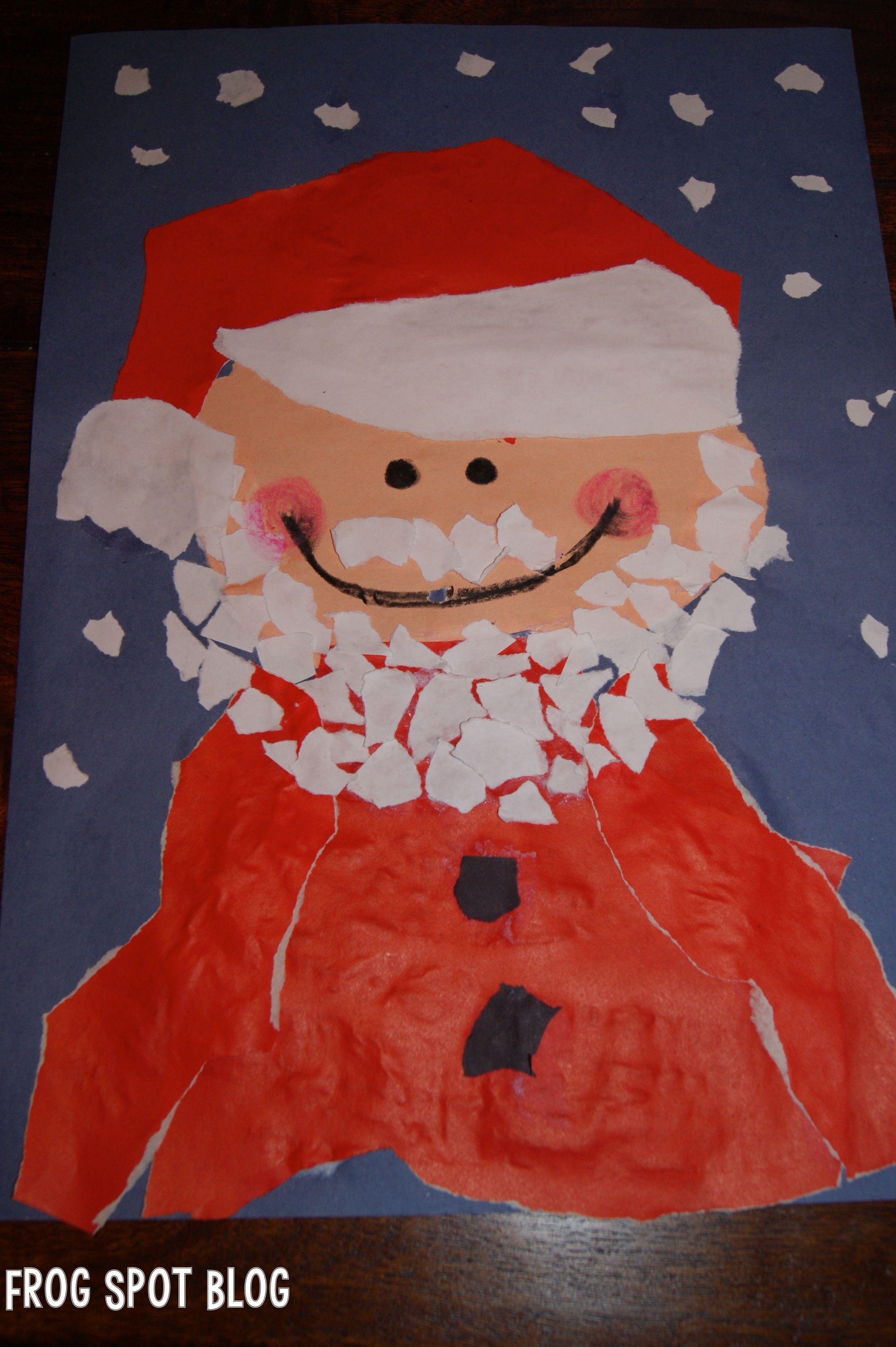 Torn Paper Santa