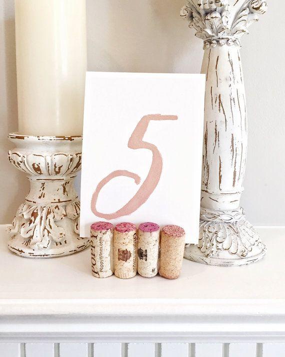 Wine Cork Table Numbers: Wine Cork Table Number Holders, Boho Wedding, Rustic