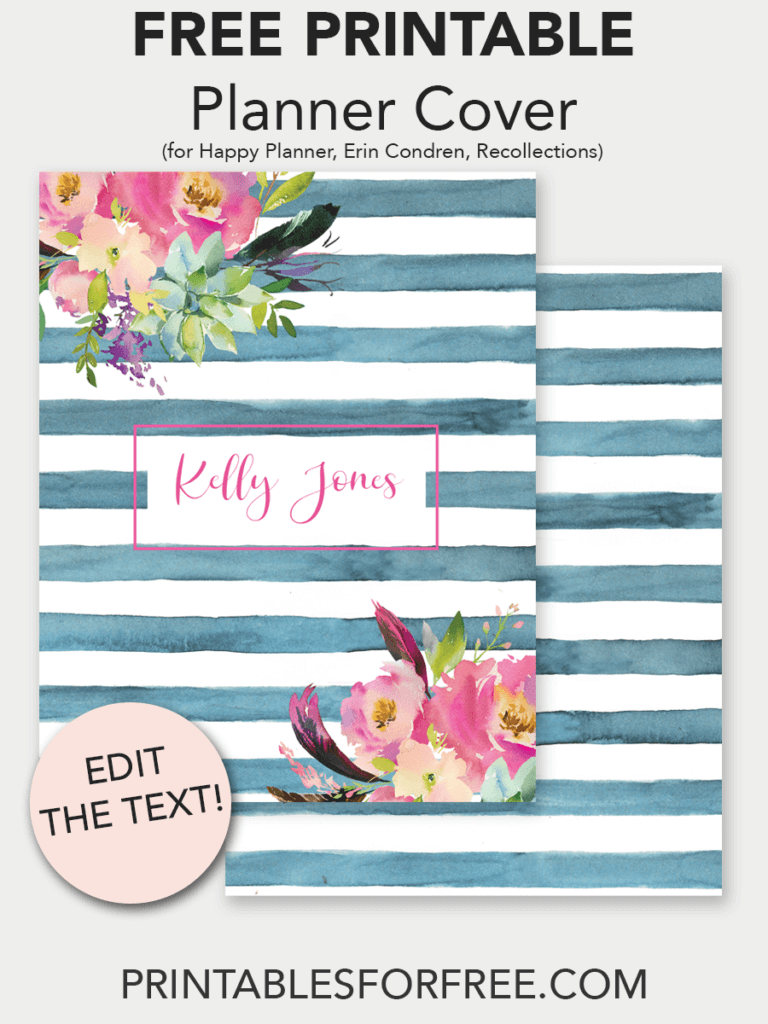 picture regarding Planner Cover Printable titled Floral Watercolor Stripe Printable Planner Deal with