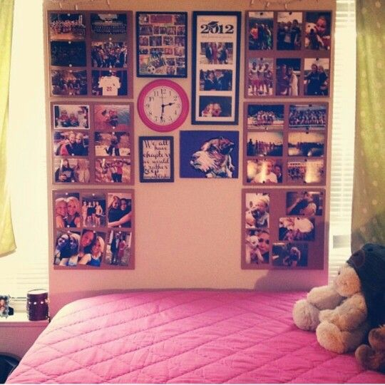 Dorm wall decor i love the idea of paper behind the - Dorm wall decor ideas ...