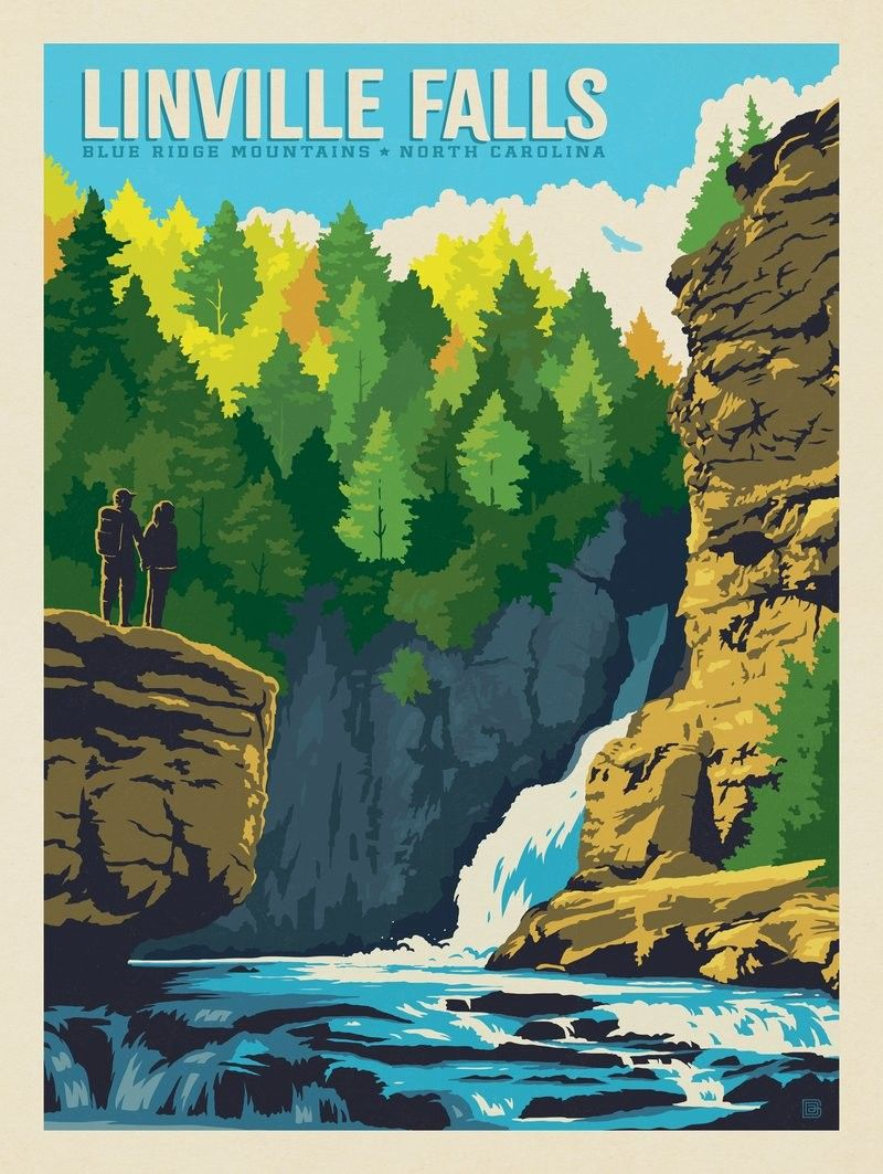 Anderson Design Group American Travel Linville Falls North Carolina Linville Falls National Park Posters Vintage Travel Posters